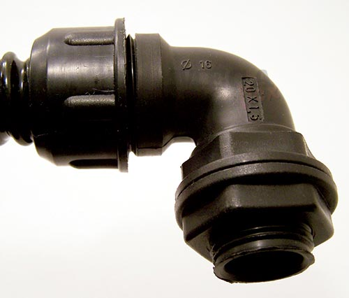 Black PVC Conduit 90 Degree Elbow Fitting IP65 Rated
