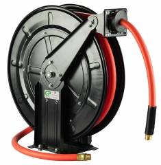 15 Metre Open Frame Retractable Metal Air/Oil Hose Reel - Rubber Hose