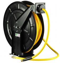 20 Metre Open Frame Retractable Metal Air Hose Reel - Superflex Yellow Hose