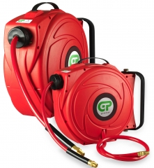 9 Metre Compact Retractable Air Hose Reel - Red Case & Hose