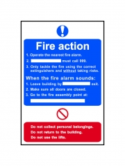 Safety Sign - Fire Action Procedure Style 2