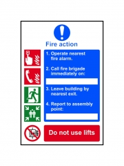 Safety Sign - Fire Action Procedure