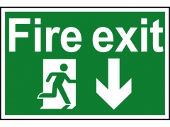 Safety Sign - Fire Exit Running Man Arrow Down
