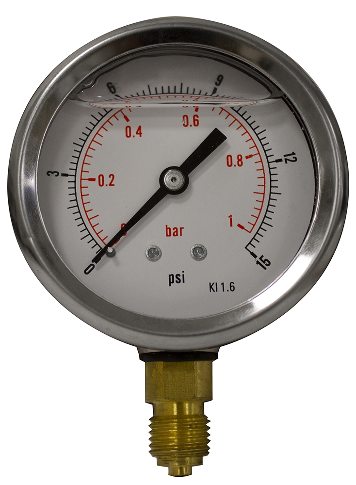 Hydraulic Pressure Gauge 63mm Bottom Entry 0-150 PSI 10 Bar Stainless GB6310//04
