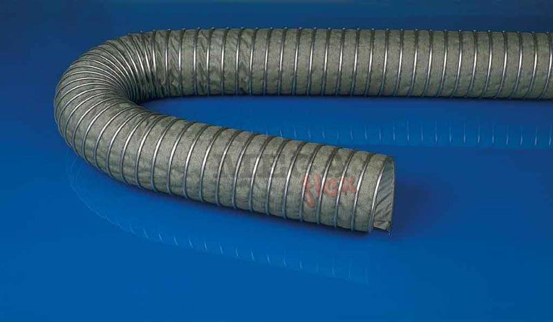 Master-CLIP ISO-CAR Special Coated Heat Resistant Impregnated Glass Fabric Exhaust Gas Ducting with External Galvanised Steel Wire Helix
