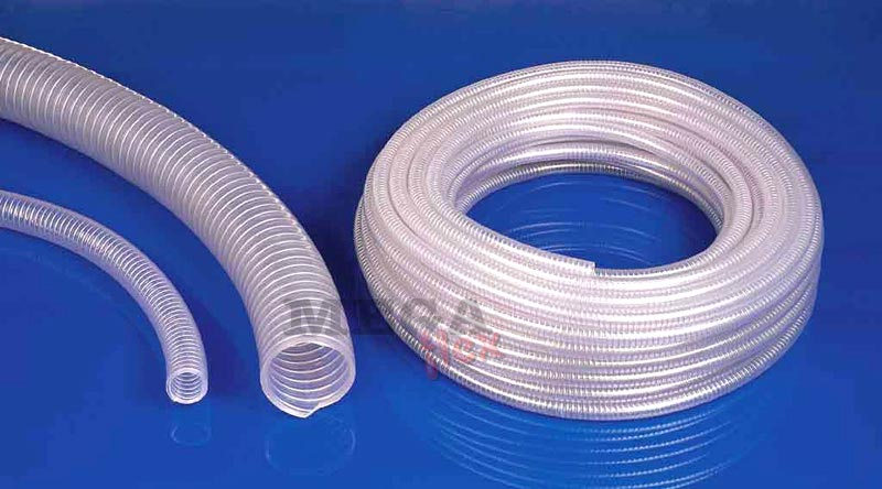 Polderflex Polyvinyl Chloride (PVC) Vacuum Resistant Suction Hose with Spring Steel Wire Helix