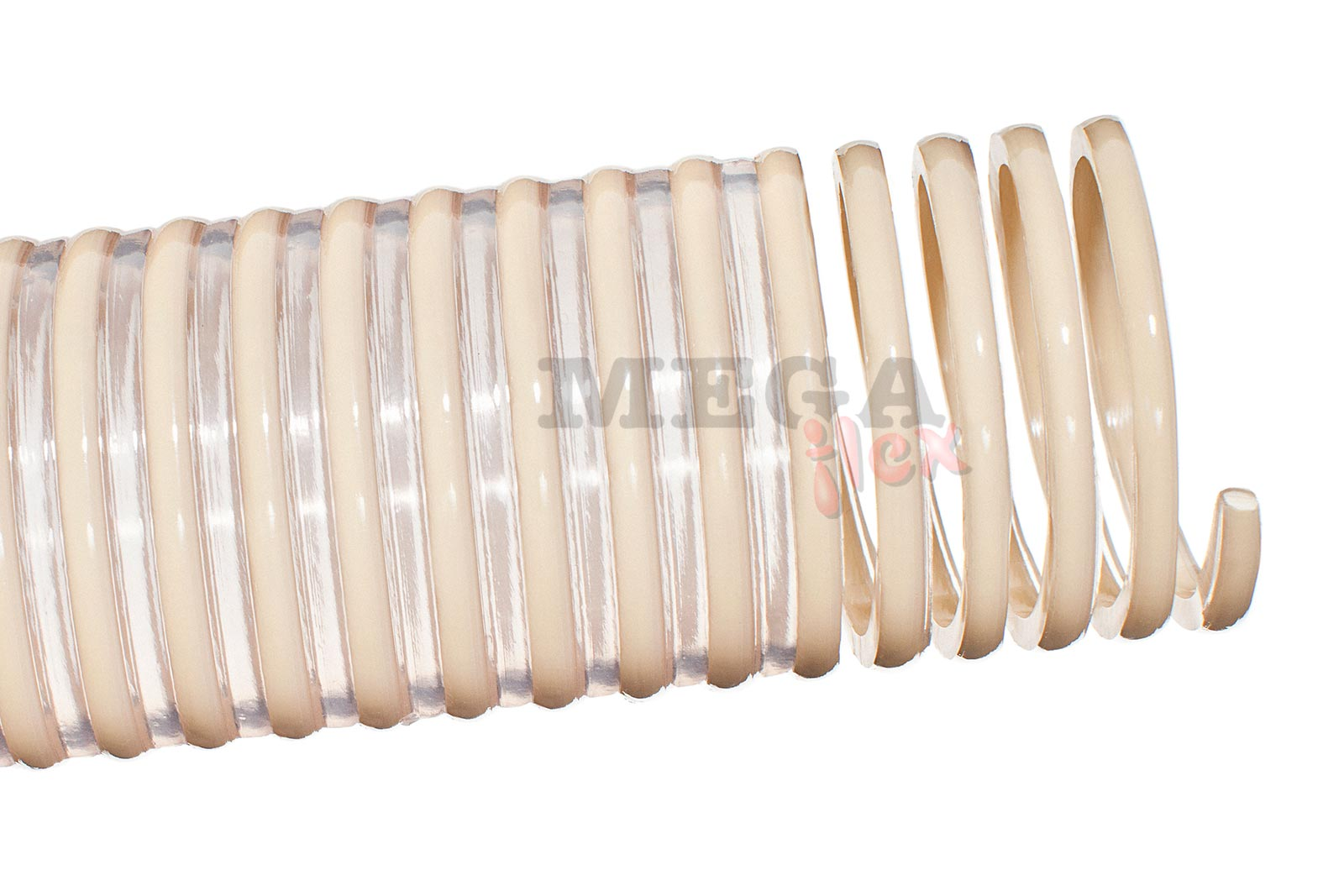 Nettuno FF AS - Antistatic Clear Plasticized Vinyl Compound Walled S&D Hose with Rigid PVC Helix