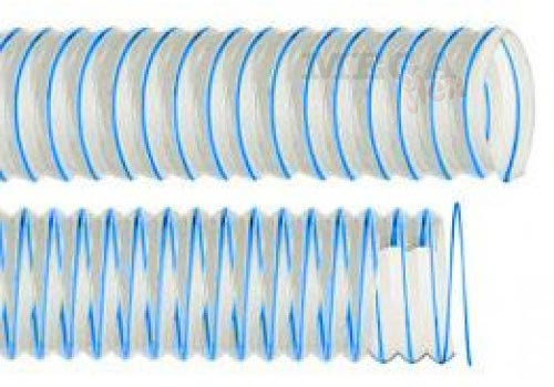 Vulcano PU Blue - Clear Ester Polyurethane Ducting with Blue PU-coated Coppered Steel Wire Helix (Medium Duty)