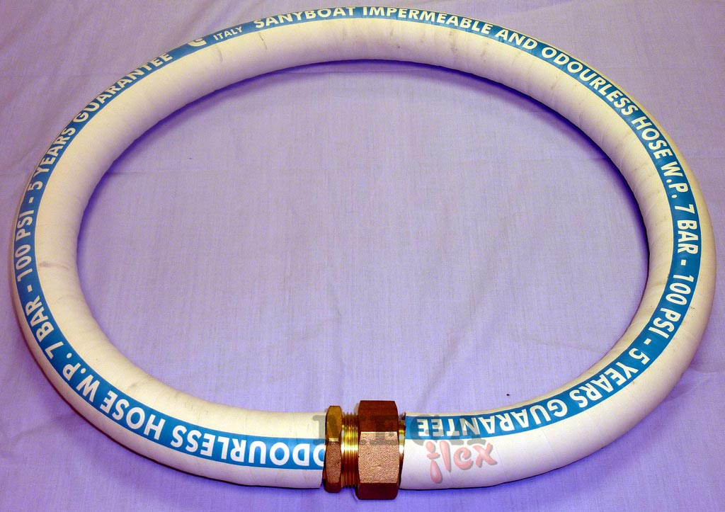 Rubber Marine Sanitation Hose - Extra Flexible White Marine Sanitation Hose with Perfectly Smooth Inside