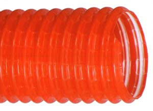SuperFlexTract Red Plasticised PVC Axial and Helical Yarn Reinforced Ducting with PVC-coated Spring Steel Helix Support