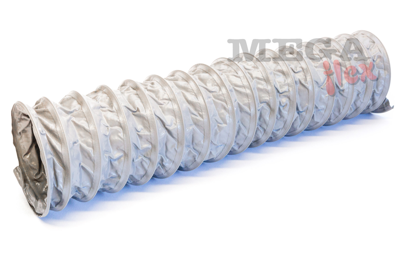 Eolo VENT - Flame Retardant M2 Grey PVC-coated Polyester Fabric Ducting Encapsulating a Steel Wire Helix Reinforcement