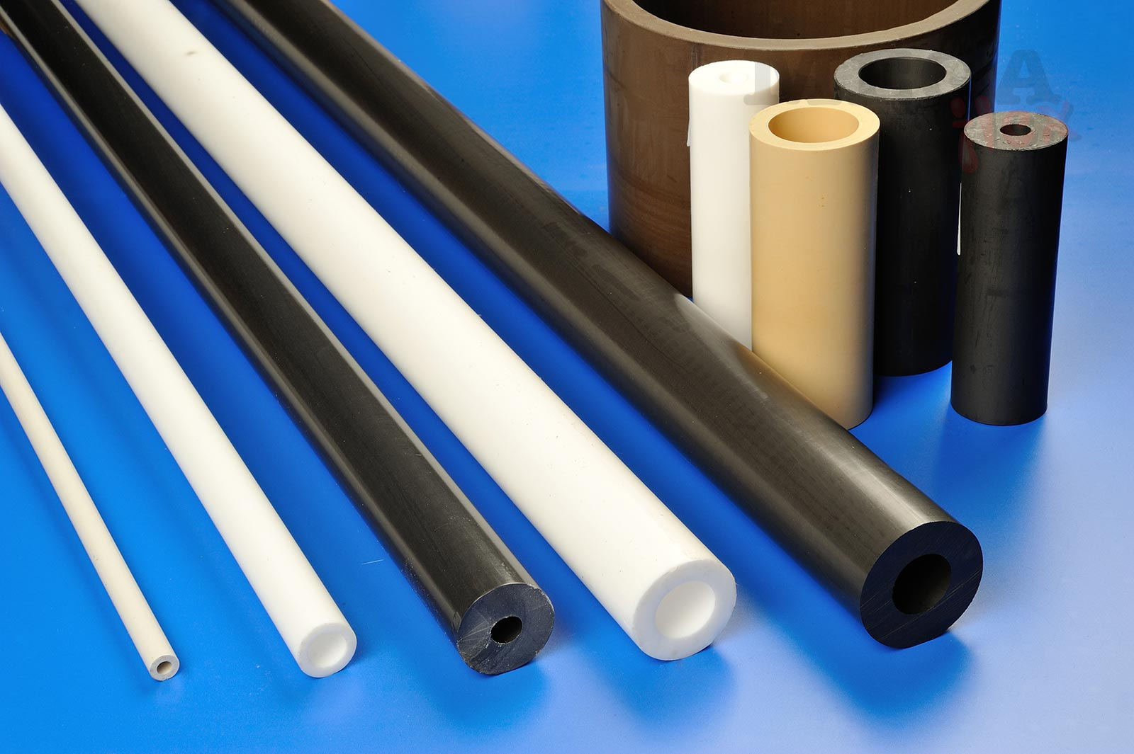 25% Glass Filled Rigid PTFE Tube (PolyTetraFluoroEthylene Pipe) Moulded in up to 300mm lengths - Usually 150mm
