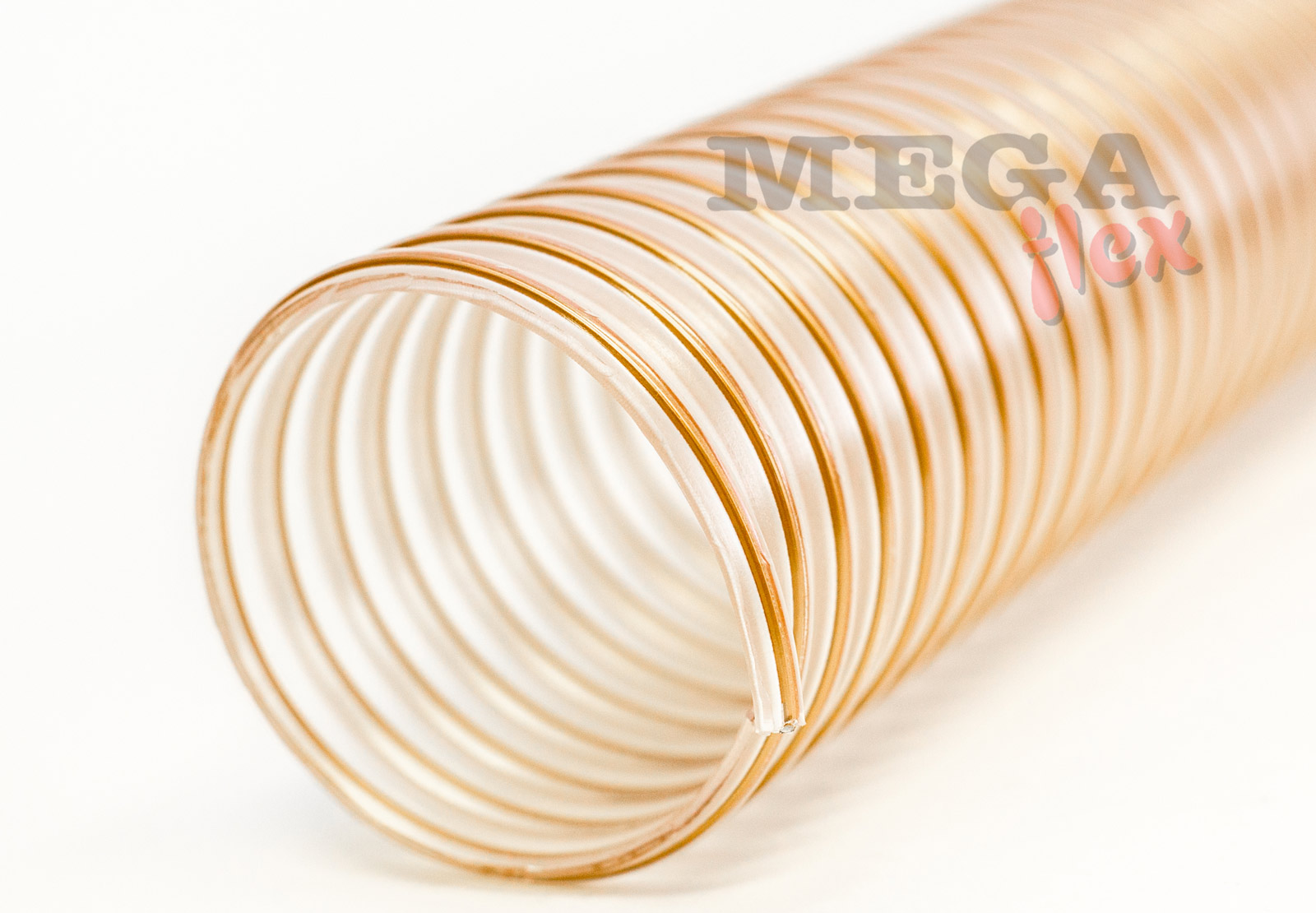 Vulcano PU HDS 15 - Clear Ester Polyurethane Ducting Reinforced with PU-coated Coppered Steel Wire Helix (Heavy Duty)
