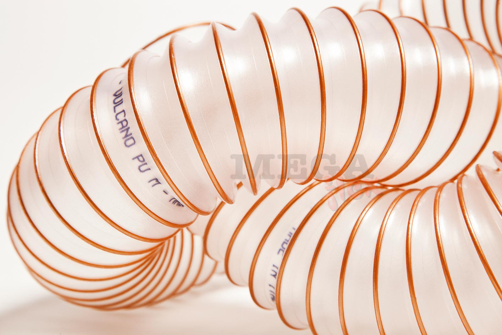 Vulcano PU M FR - Clear Ester Polyurethane Ducting Reinforced with PU-coated Coppered Steel Wire Helix (Medium Duty)