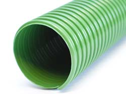Eolo AF - Flame Retardant Green PVC Air Ducting Reinforced with Rigid PVC Helix for Suction of Air, Fumes, Gas