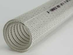 PharmaSteel Press - Clear TPE Rubber Delivery Hose with Polyester Yarn Reinforcement and Stainless Steel Wire Helix