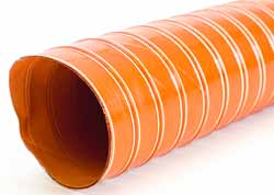SilDuct 2S - Red Double Ply Silicone-coated Glass Fabric Ducting Reinforced with Embedded Helical Steel Wire for Exhaust Gas Extraction