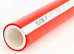 Plutone PF - Red-Coated White TPS Rubber Suction and Delivery Hose with Steel Wire Helix and Polyester Yarn Reinforcement (White Stripe)