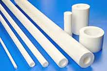 Rigid PTFE Tube (PolyTetraFluoroEthylene Pipe) Moulded in up to 300mm lengths