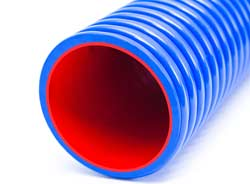 Urano HD Super - Ultra-Heavy Duty Blue PVC S&D Hose with Red Inner Ester Polyurethane Inner Reinforced with Rigid PVC Helix