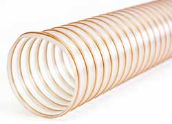 Vulcano PU H 09 - Clear Ester Polyurethane Ducting Reinforced with PU-coated Coppered Steel Spiral