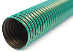Vulcano TPR A - Black with Green Stripe Thermo-Plastic Rubber Ducting Reinforced with Encapsulated Helical Steel Wire for Hot Air and Fumes in Chemical Plants