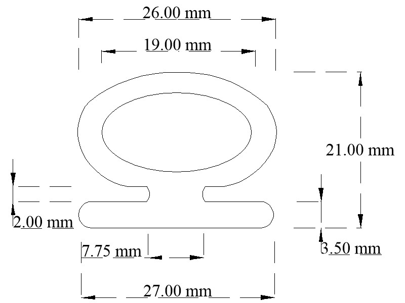 EPDM  door seal profile with flat base