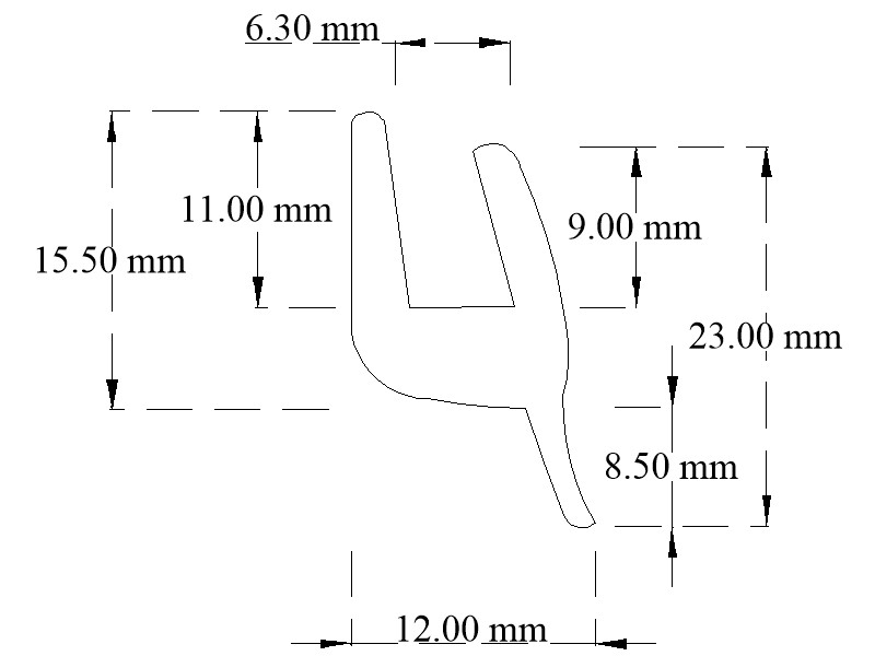 EPDM U-channel with bottom tail
