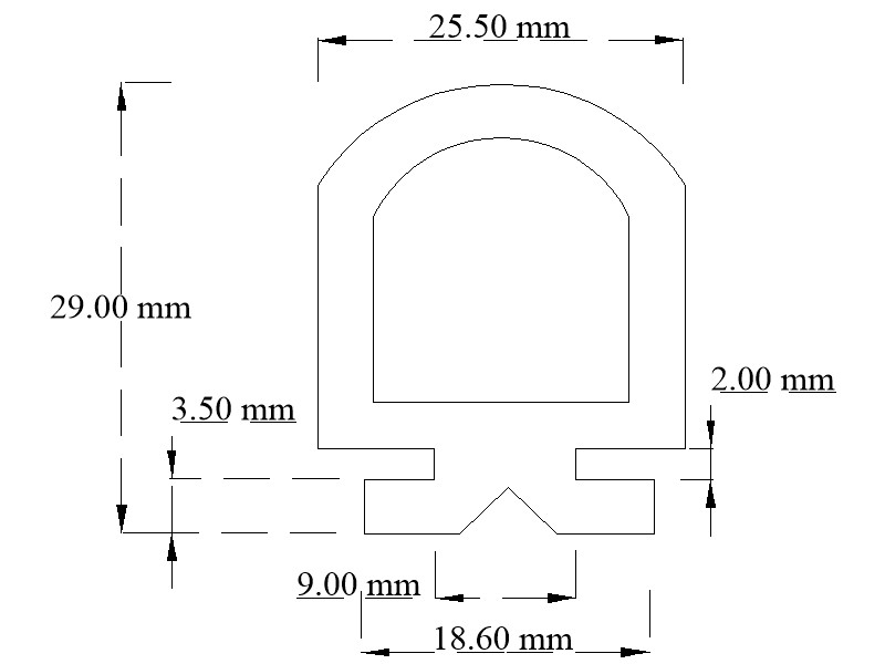 EPDM door seal section