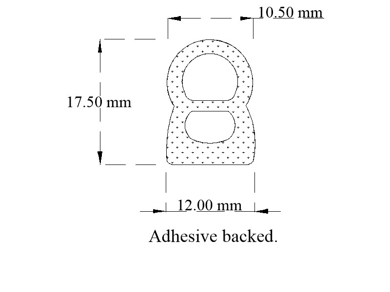 Self-adhesive backed expanded EPDM / sponge door seal