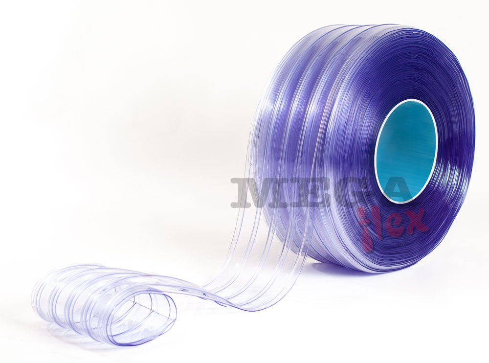 200mm wide x 2mm thick Clear Ribbed Standard Grade PVC Strip in 50m rolls